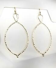 CHIC Lightweight Artisanal Thin Gold Hammered Metal Dangle Earrings