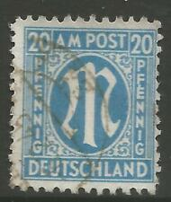 STAMPS-ALLIED OCCUPATION. 1945 20pf Light Blue. Perf 11x11½. SG: A26a. Fine Used