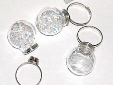 Bottle Ring fairy Locket Screw top Globe crystal Ball Glass light bulb orb *