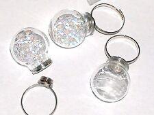 Bottle Ring fairy Locket Screw top Globe crystal Ball Glass light bulb orb *