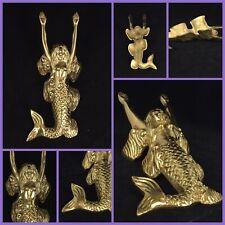Vtg Reproduction 10� Mermaid Metal Brass Door Stopper Statue - Nautical Decor