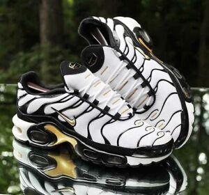 Nike Air Max Plus TN Men's Size 9.5 White, Black, Metallic Gold CZ9188-001