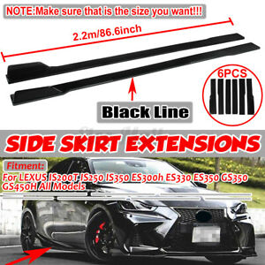 For Lexus IS GS F Sport CT LC LS LX Gloss Black Side Skirt Extensions Body Kit