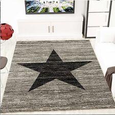Modern Wohnzimmer Teppich Stern Muster in Schwarz Grau Jugendstil - Heatset NEU