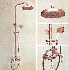 Antique Copper Bathroom Tap Wall Mount Brass Shower Rainfall Set Mixer Faucet