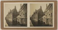 Belgium Bruges Ospedale Saint-Jean Foto Stereo P28T4n1 Vintage Analogica c1900