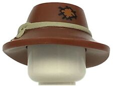 LEGO NEW REDDISH BROWN MINIFIURE HAT WIDE BRIM TAN BAND PATCH PATTERN FARMER