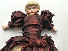 Antique Parian China Dollhouse Doll in Silk Dress