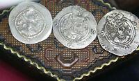 Antiquity Lot of 3 Sasanian Coins Empire King Khosrow II 590-628 AD Estate Box