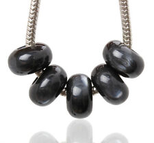 Lots 20pcs Black Cat-eye Styles Resin Big Hole Beads Fit European Bracelet Charm