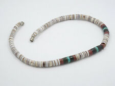 VINTAGE SANTO DOMINGO HEISHI GRADUATED TURQUOISE, PIPESTONE, SHELL NECKLACE ~15""