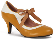 Collectif Jeanie 50s Mustard Yellow High Heeled Shoes