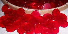 BINGO CHIPS 100 PLASTIC RED CLEAR  : CHURCH-SCHOOL-CARNIVAL EVENTS