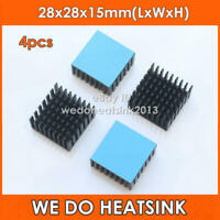 4pcs 28x28x15mm CPU Black Anodized Aluminum Heatsink With Thermal Tape Applied