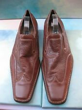Delli Aldo Chestnut Leather Wing Tip Square Toe Slip-On Dress Shoes Men's 8
