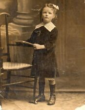 Pretty Young Girl Bow in Hair Studio Portrait Vintage Real Photo Postcard (RPP)