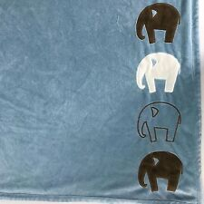 "Dwell Studio for Target Blue Brown Elephants Baby Blanket 30x40"" Plush Soft"