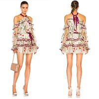 ALEXIS  Adeline EMBROIDERED Garden lace FLORAL Ivory dress XS