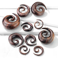 PAIR Brown Sono Wood Spiral Tapers Organic Plugs Tunnels Earlets Gauges