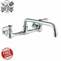 Low Lead Wall Mounted Commercial Sink Faucet 8 Centers 12 Swing Spout Chrome