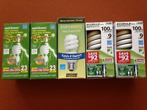 Lot of 5 CFL SPIRAL 23w LIGHT BULBS/SALE! AutoCell, Ecobulb, & Earthbrite brands
