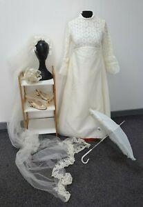 Vintage 1970s Bridal wedding dress, veil, shoes, umbrella & bouquet -  size 10
