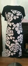 Laura Ashley Black Floral Print Dress - Size 14 FREE P&P