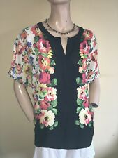 Laura Ashley Archive ~ Black & Floral Print Silky Tunic Top ~ Size 16