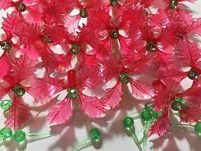 15 RED HOLLY POINSETTIA LEAF MEDIUM BULBS MINI PIN LIGHTS Ceramic Christmas Tree