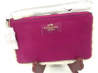 COACH WRISTLET IN LEATHER AND SHEARLING CRANBERRY/PINK SMALL PURSE  PHONE F64709
