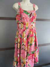 Talbots Dress Sz 4P 4 Petite Tank Empire A Line Floral Bright Red Pink Green