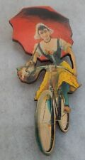 Vintage Style Girl & Umbrella on Bicycle Brooch or Scarf Pin Wood Multi-Color