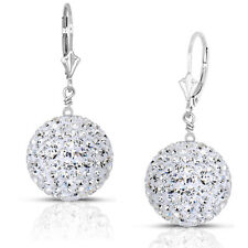 14k White Gold 16mm Crystal Pave Accent Disco Ball Drop  Leaverback Earrings