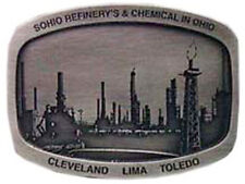 SOHIO REFINERY'S & CHEMICAL IN OH PEWTER BELT BUCKLE 2 OF 3 140 MADE RARE BP OIL