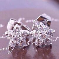 Lucky 14K white Gold Plated diamond earrings womens Flower crystal Stud Earrings