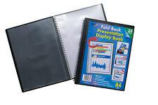 A4 Fold Back Presentation Folder Twin Wire Easel Flip Display Book - 24 Pockets