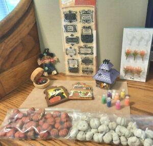 1/12 & 1/144 Dollhouse Miniature Fall Halloween House Decor Plants Signs Lot