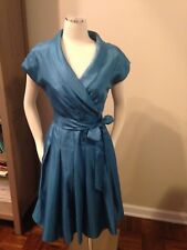 Jones New York Teal Blue Shimmery Pleated Collared Vintage Inspired Dress 6 EUC