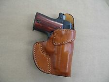 Browning 1911 380 Leather Clip On OWB Belt Concealment Holster CCW - TAN RH