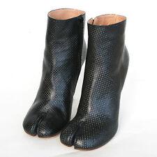MAISON MARTIN MARGIELA split toe perforated leather high heel tabi boots 40 NEW