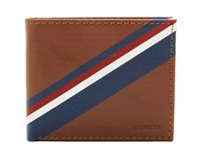 Tommy Hilfiger Men's Brown Tan Leather Double Billfold Credit Card ID Wallet