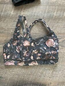 Lululemon Energy Bra Nulux Peony Multi Black Pink Floral Strappy Back Size 6