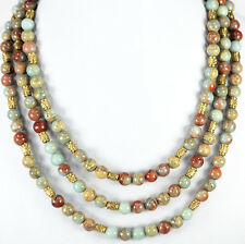"Multi Strand Natural Variscite Jasper Round Beads Gold Toggle Necklace 17""-20"""