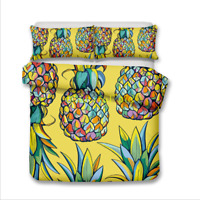 Yellow Pineapple Single/Double/Queen/King Size Bed Quilt/Doona/Duvet Cover Set