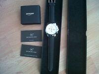 OVP Amazon Armbanduhr Chronograph Edelstahl schwarzes Armband Plastik komplett