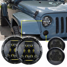 7Inch 75W Hi/Lo Headlight & Amber LED Side Front Turn Light For Jeep Wrangler JK
