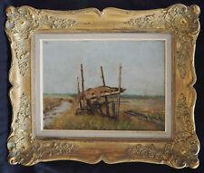 Tableau Chasse au canard à l'affut par Eugène SURINX (1850-1936) ? + cadre