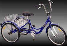 """Komodo 3 wheels Adult 24"""" Tricycle 6 speed Blue"""