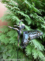 one FAIRY GARDEN STAKE 26.6 IN. STAINED GLASS METAL yard decor faerie village #2