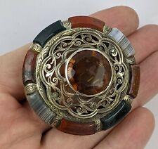 Antique Scottish Silver & Agate Pebble Brooch Large Openwork FINE Victorian